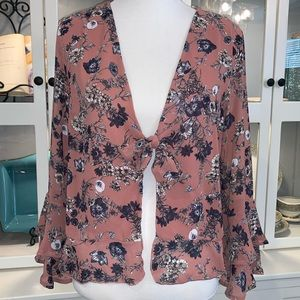By Together Tie Front Floral Ruffled Blouse Sz Lg